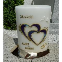 Hochzeitskerze Ovalform Herzen