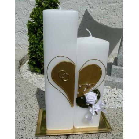 Hochzeitskerze  Doppelvierkant